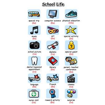 Pictogrammes vie scolaire anglais