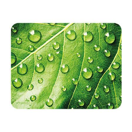 Tapis à souris – feuille vertes avec gouttes d'eau