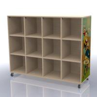 Meuble de rangement imprimé à 12 cases avec tableau effaçable 1365