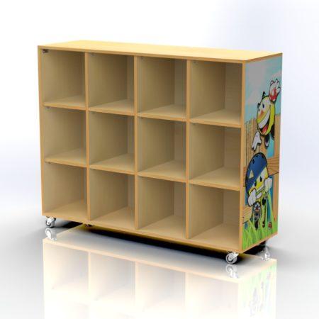 Meuble de rangement imprimé à 12 cases avec tableau effaçable